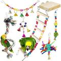 Colorful bird toys, 6 pieces parrot toys chew toys birds toys hanging on bird cage Stands with wooden ladder, rope perch for parakeets, small and medium-sized bird parrots