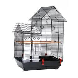 Portable Bird Cage Sturdy Lovebird Cage Box Parrot Pet Cage Birdcage with Wood Perch Food cup