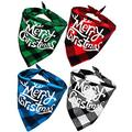 Senneny 4 Pack Christmas Dog Bandana - with Merry Christmas Printing Reversible Plaid Dog Kerchief Set Dog Triangle Bibs Scarf Accessories for Small to Large Dogs Cats Pets (Merry Christmas)