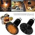 100W/150W 2-Pack Ceramic Heat Emitter Reptile Heat Lamp Bulb No Light Emitting Brooder Coop Heater for Amphibian Pet & Incubating Chicken