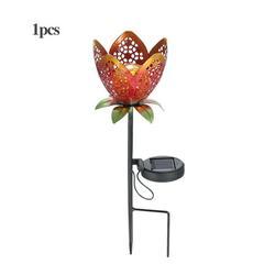 1Pack Iron Solar Flowers - Solar Light, Garden Lights Solar Powered, Walkway Lights, Outdoor Solar Lights - Light at Night, Beautiful Decorative Yard Art During The Day
