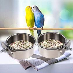 2PCS Parrot Feeder, Bird Feeding Dish Cups, Bird Bowl, Parrot Food Bowl, Bird Feeder for Cage, Feeding Coop Cups, Bird Cage Water Bowl for Small Animal, Parakeet , African Greys Conure, Cock