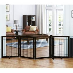 PAWLAND 96-inch Extra Wide 30-inches Tall Dog gate with Door Walk Through, Freestanding Wire Pet Gate for The House, Doorway, Stairs, Pet Puppy Safety Fence, Support Feet Included(Espresso)
