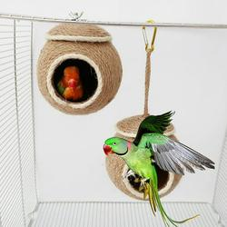 Windfall Hanging Bird House Cage Toy for Pet Bird Natural Coconut Fiber for Bird Nest Breeding Bird Nesting Box Fiber String Hanging Bird House for Parrots