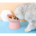 Ecosprial Pet Bowl Cat Bowl Dog Bowl Slanting Mouth High Foot Bowl Cat Food Bowl Double Bowl Cat Rice Bowl Pet Supplies,Pink