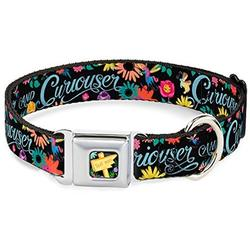 dog collar seatbelt buckle curiouser and curiouser flowers of wonderland collage 15 to 26 inches 1.0 inch wide