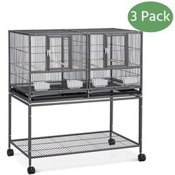 Yaheetech 3 pcs Double Stackable Wide Bird Cage Divided Breeder Cage for Small Birds Lovebirds Finch Canaries Parakeets Cockatiels Budgies Metal Bird Cage with Rolling Stand Black