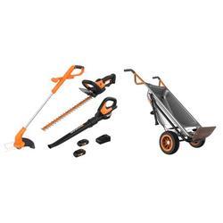 WORX 2-in-1 Trimmer & Edger Lawn Equipment Combo and WG050 Aerocart Wheelbarrow