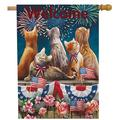 Welcome July 4th Patriotic Cat House Flag Double Sided, Firework Flower Quote Burlap Garden Yard Decoration, Holiday Red White Blue Seasonal Outdoor Vintage Décor Decorative Summer Large Flag