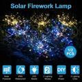 Enkeeo 1Pcs Outdoor Solar Lawn Light 120LED Firework Starburst Fairy Lights Stake, IP65 Waterproof ,2 Lighting Modes ,Light Control ,Colorful