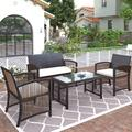 Rattan Garden Furniture Set Patio Conservatory Indoor Outdoor 4 Pieces set table chair sofa for Garden, Backyard, Porch and Poolside Brown