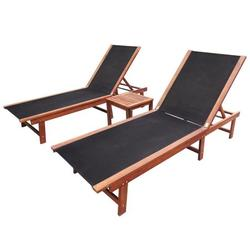 3pcs Adjustment Sun Lounger Tea Table Set Home Outdoor Garden Patio Beach Laying Nap Lounge Chair Square Table