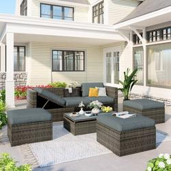 5 Piece Patio Sectional Sofa, Newest Cushioned Outdoor Conversation Set, Patio Couch Sectional Sofa with Adjustable Longue Sofa and Lift Coffee Table, Patio Set Poolside Outdoor Furniture, JA3310