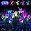 Solar Garden Stake Lights Outdoor, EEEkit 2 Pack Solar Powered Lily Flower Lights 7 Multi-Color Changing Decorative LED Landscape Lighting Outdoor Waterproof for Patio, Yard (Purple + Red)
