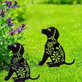 Dog Garden Acrylic Stakes - Black Dog Silhouette Stake for Yards, Gardens - Set of 2 Acrylic Animal Lawn Decorations, Cat Toys Gifts for cat Lovers