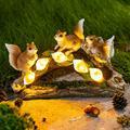 Garden Squirrel Statues, Garden Art for Fall Winter Garden Figurines Decor, Solar Statue Outdoor Waterproof with 5 Calla Lily Lights Garden Gift for Patio, Lawn, Yard, Housewarming, Thanksgiving