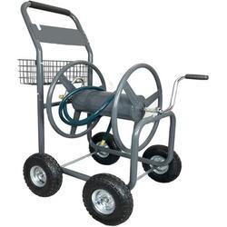 Ashman Garden Hose Reel Cart - 4 Wheels Portable Garden Hose Reel Cart with Storage Basket Rust Resistant Heavy Duty Water Hose Holder