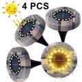 4Pcs Ip65 Waterproof Resin Solar Lights Garden 16Led Warm White Landscape Lighting Led Recessed Spotlight Floor Light Outdoor For Yard Driveway Lawn