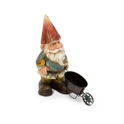 """Gerson 22"""" Resin Garden Gnome with Wheelbarrow"""