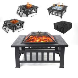 """Fire Pits for Outside, YOFE Metal Outdoor Fire Pit, 31"""" Wood Burning Fire Pit, Backyard Patio Stove with Poker, Outdoor Wood Burning Fireplace, Portable Fire Bowl for Garden Camping, Black, R3528"""