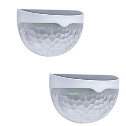 2 Pack Outdoor Solar Lights, YOFE Wireless Solar Powered Deck Lights, IP55 Waterproof Solar Fence Lights Outdoor Decorative, Solar Lights for Walkway, Roof, Fence, Pathway, Driveway, Warm White, R6673