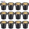 LEONLITE 12-Pack 6W LED Well Light, 12-24V Low Voltage Grill Top In-Ground Lighting, 3000K Warm White, UL Listed Cable, IP67 Waterproof Landscape lights for Yard, Garden, Patio, 50,000hrs Lifespan