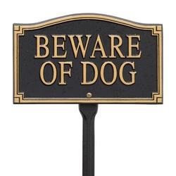 Products Beware of Dog Wall/Lawn Statement Marker, Black/Gold, Text is permanently cast on the sign By Whitehall