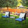 Yard Garden Balcony and Backyard 3-Piece Dialog Bistro Set Black Wicker Furniture-Two Chairs with Glass Coffee Table Dark Blue