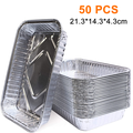 Aluminum Foil Grill Drip Pans -Bulk Pack of Durable Grill Trays Disposable BBQ Grease Pans Compatible with Made Also Great for Baking, Roasting and Cooking 50PCS