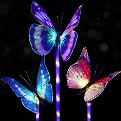 DecorX Garden Solar Lights Outdoor - 3 Pack Solar Stake Light Multi-color Changing LED Garden Lights, Fiber Optic Butterfly Decorative Lights, Solar Powered Stake Light with a Purple LED Light Stake