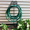 Sunnydaze Free-Standing or Wall Mount Metal Garden Hose Stand Holder with Decorative Clover Design, Holds 125 Feet of 5/8-Inch Hose - 41-Inch