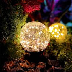 3-Pack Solar Garden Ball Lights, Crack Glass Ball Solar Globe Lights, 30 LED Solar Pathway Lights Outdoor Garden Decor, Warm White LED Lights Ball, Solar Lights Outdoor Decorations for Patio (4.72�)