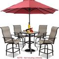 5-Piece Patio Bar Chairs Outdoor Swivel Bistro Set Bar Table and Chairs All Weather Outside Furniture Set for Yard, Lawn, Garden, Home