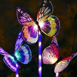 Solar Garden Lights-3 Pack Solar Stake Light Multi-Color Changing LED Garden Lights, Fiber Optic Butterfly Decorative Lights, Perfect As Solar Garden Lights, Solar Landscape Lights