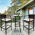 3 Pieces Patio Bar Set, Outdoor Patio Furniture Bar Stool Sets, Wicker Bistro Patio Set with 2 Bar Stools, Glass Coffee Table, Outdoor Cushioned PE Rattan Dining Table Sets for Backyard, Q17806