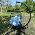 Indoor Hammock Egg Chair, BTMWAY Heavy-Duty Swing Egg Chair for Patio Porch Backyard Indoor, Outdoor UV Resistant Resin Wicker Hanging Hammock Chair w/Stand&Cushions, Blue, A2896