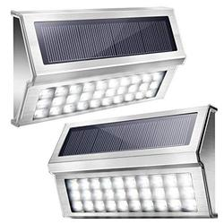 Upgraded 30 LED Solar Step Lights JACKYLED Outdoor Solar Stair Lights Waterproof Solar Powered Deck Lights Stainless Steel Cool White Light Security Lights for Fence Patio Wall Dock 2-Pack