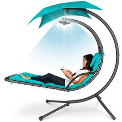 Best Choice Products Hanging LED-Lit Curved Chaise Lounge Chair for Backyard, Patio w/ Pillow, Canopy, Stand - Teal