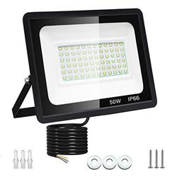 Dersoy 50W LED Flood Light Outdoor, 4500LM IP66 Waterproof LED Work Lights, Super Bright 6500K Daylight White Outdoor LED FloodLight Wall Light Garden Lights with 1.5m Cable for Patio, Backyard (50)