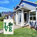 "Happy St Patricks Day Garden Flag, Clover Love Shamrock Garden Flag,Vertical Double Sided, Welcome St Patricks Day Flag for Spring Summer Yard House Outdoor Decoration 12"" x 18"""