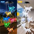 Garden Decor Colorful Color Changing Outdoor Waterproof Solar Wind Chime Dragonfly Lamp Garden Decoration Outdoor