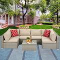 Outdoor Patio Furniture Set, SEGMART 7 Piece Outdoor Sectional Sofa with Khaki Cushions, Sectional Patio Furniture with Table, Durable Wicker Patio Furniture Set with 2 Pillows, Gray Patio Sofa,H2086
