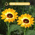 Coolmade Outdoor Sunflower Solar Garden Decor Yard Stake, 21'' Decorative Lights for Garden Patio Porch Backyard (2 Pack)