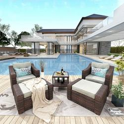 5 Piece Patio Wicker Sofa Set, Outdoor Rattan Lounge Chairs Set with Couch Footstools Coffee Table, for Backyard Porch Poolside Garden Lawn