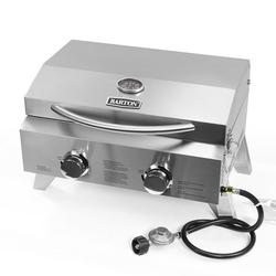 20,000 BTU, 2 Burner Portable BBQ Tabletop Gas Grill Foldable Legs, Stainless Steel