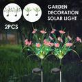 HOTBEST 2 Pack Solar Powered Garden Decorative Lights Outdoor Beautiful LED Fairy Landscape Tree Flower Lamps for Pathway Patio Yard Deck Walkway Christmas