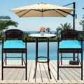 3 Pieces Outdoor Patio Furniture Bar Stool Sets, Patio Bar Set Wicker Bistro Patio Set with 2 Bar Stools, Glass Coffee Table, Outdoor Cushioned PE Rattan Dining Table Sets for Backyard, Q17791