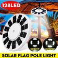 128 LED Flag Pole Solar Power Automatic Light Night Super Bright Flagpole Light Camping LED Light Garden Night Light IP65 Waterproof Flagpole Downlight Tent
