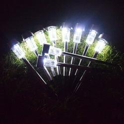 Qisuw 10pcs/set Stainless Steel Solar Powered LED Light Waterproof Outdoor Landscape Lighting Lamp Lawn Light Garden Decor
