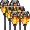 6-Pack Solar Lights Outdoor Christmas Decorative (Upgraded Vivid Flame), Super Bright Solar Torch Light with Flickering Flame, Outdoor Waterproof Decoration Lights for Christmas Party Backyard Garden